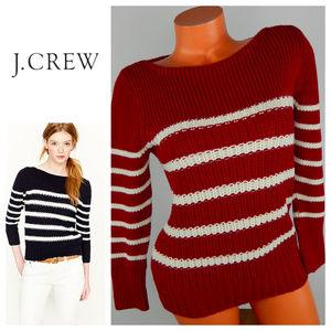 J. Crew Sweaters - New J CREW Ripplestich SWEATER XL 14 16 Red Stripe